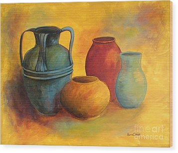 Southwest Pottery Wood Print by Anita Carden
