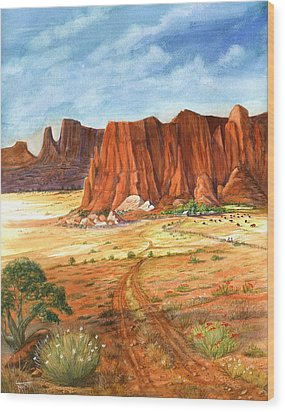 Wood Print featuring the painting Southwest Red Rock Ranch by Marilyn Smith