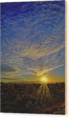 Wood Print featuring the digital art Southwest Sunset Op40 by Mark Myhaver