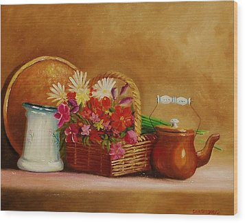 Wood Print featuring the painting Southwest Table by Gene Gregory