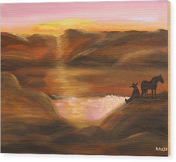 Southwestern Desert Sunset Wood Print