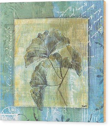 Spa Gingko Postcard  2 Wood Print by Debbie DeWitt