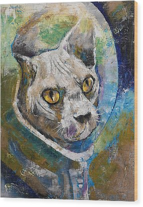 Space Cat Wood Print by Michael Creese