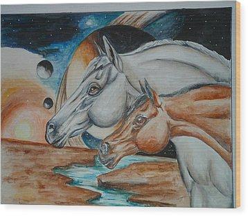 Space Horses  Wood Print by Andrea  Darlington