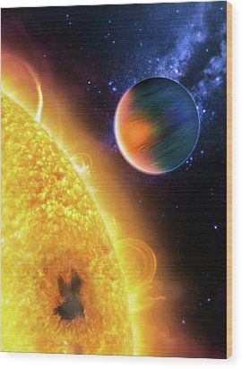 Wood Print featuring the photograph Space Image Extrasolar Planet Yellow Orange Blue by Matthias Hauser