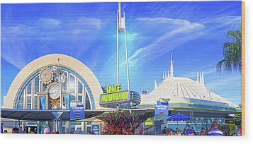 Wood Print featuring the photograph Space Mountain Entrance Panorama by Mark Andrew Thomas