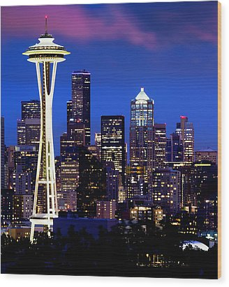 Space Needle At Night  Wood Print