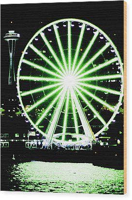 Space Needle Ferris Wheel Wood Print