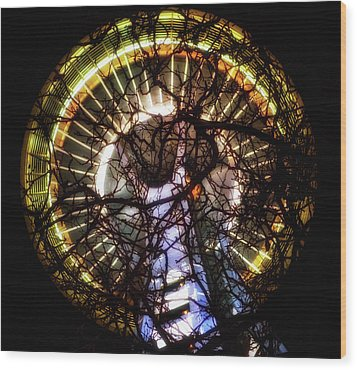 Space Needle Night Wood Print