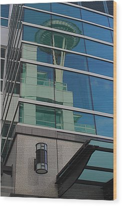Space Needle Reflection Wood Print