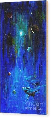 Space Shark Wood Print