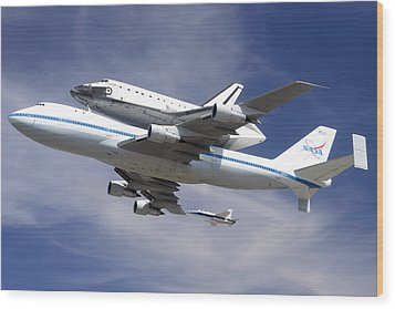 Space Shuttle Endeavour Over Lax With Hornet Chase Plane September 21 2012 Wood Print