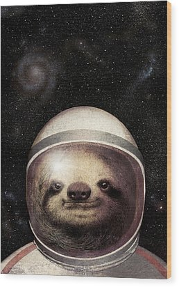 Space Sloth Wood Print by Eric Fan