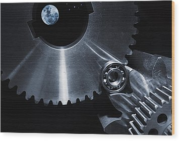 Wood Print featuring the photograph Space Technology And Titanium Parts by Christian Lagereek
