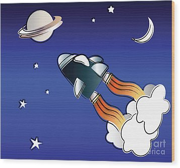 Space Travel Wood Print by Jane Rix