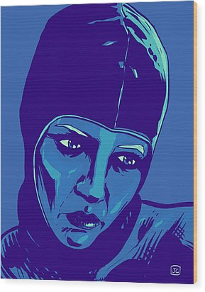 Spaceman In Blue Wood Print by Giuseppe Cristiano