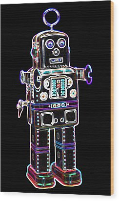 Spaceman Robot Wood Print by DB Artist