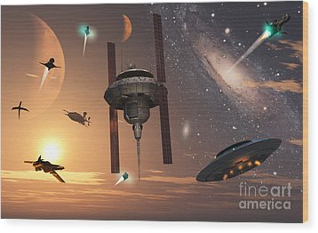 Spaceships Used By Different Alien Wood Print by Mark Stevenson