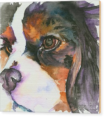Wood Print featuring the painting Spaniel by Christy Freeman