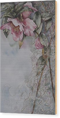 Spanish Camellias Wood Print by Mary McCullah