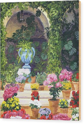 Spanish Courtyard Wood Print by Lynne Reichhart
