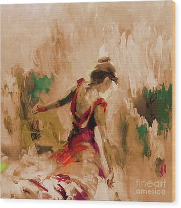 Wood Print featuring the painting Spanish Dance Culture  by Gull G