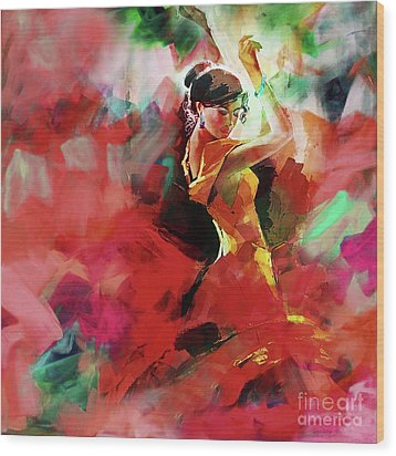Wood Print featuring the painting Spanish Dance by Gull G