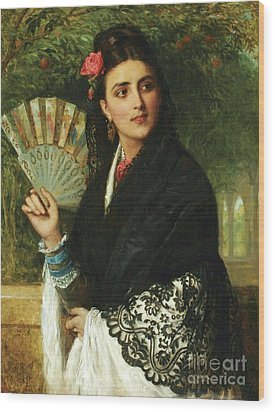 Spanish Lady With Fan Wood Print by Pg Reproductions