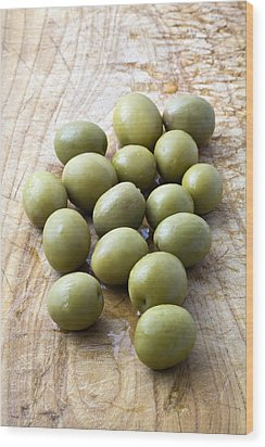 Spanish Manzanilla Olives Wood Print by Frank Tschakert