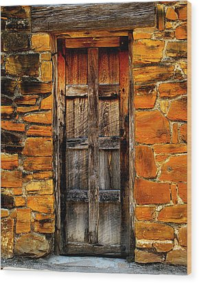 Spanish Mission Door Wood Print by Perry Webster