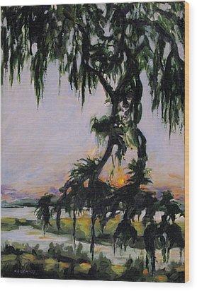 Spanish Moss Sunset Wood Print