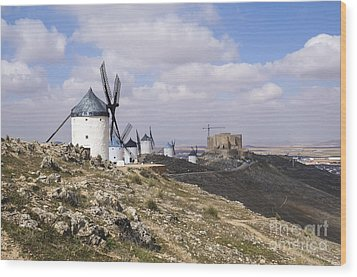 Spanish Windmills And Castle Of Consuegra Wood Print
