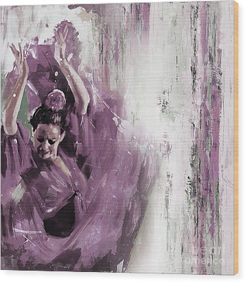 Wood Print featuring the painting Spanish Woman Dance  by Gull G