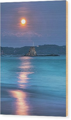 Sparkle Of Orange (full Moon) Wood Print by Tommy Tsutsui