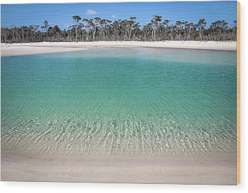 Sparkling Beach Lagoon On Deserted Beach Wood Print