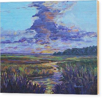 Sparkling Marsh Wood Print by Beth Maddox