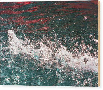 Sparkling Water Red Wood Print by HollyWood Creation By linda zanini