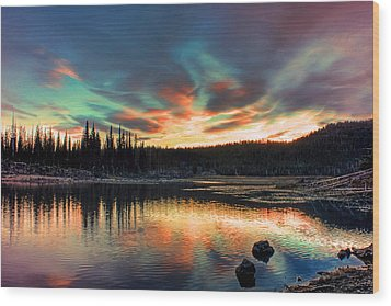 Sparks Lake Hues Wood Print by Tyra OBryant