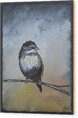 Sparrow Wood Print by Carolyn Doe