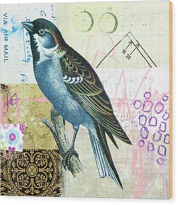 Wood Print featuring the mixed media Sparrow by Elena Nosyreva