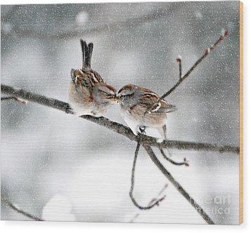 Sparrow Kiss Wood Print by Lila Fisher-Wenzel