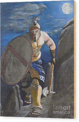 Spartan Warrior One Of The Three Hundred At Night Wood Print by Eric Kempson