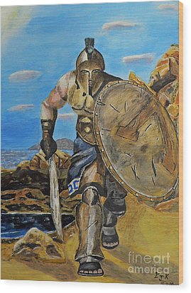 Wood Print featuring the painting Spartan Warrior One Of The Three Hundred by Eric Kempson