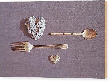 Spat Wood Print by Elena Kolotusha