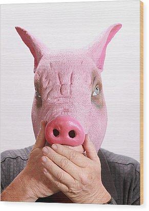 Speak No Swine Flu Wood Print by Michael Ledray