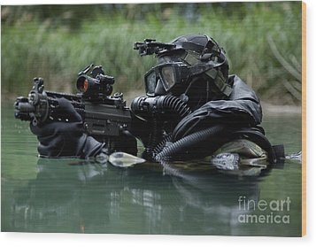 Special Forces Combat Diver Takes Wood Print by Tom Weber