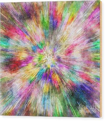 Spectral Tie Dye Starburst Wood Print by Phil Perkins