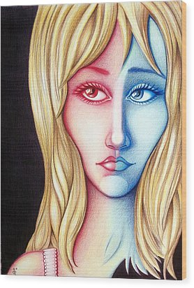 Wood Print featuring the drawing Spectrum by Danielle R T Haney