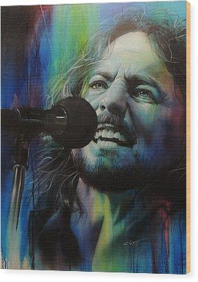 Eddie Vedder - ' Spectrum Of Vedder ' Wood Print by Christian Chapman Art
