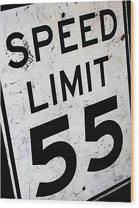 Speed Limit Wood Print by Audrey Venute